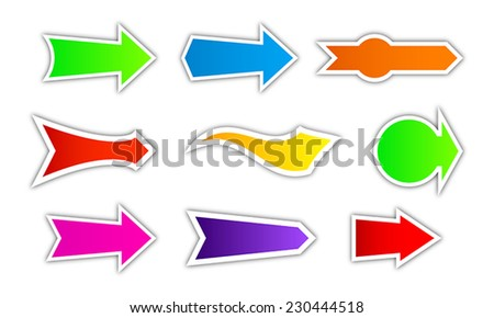 Collection of colored arrow - stock vector