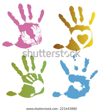 Collection of colored imprint hands, vector illustration on white background