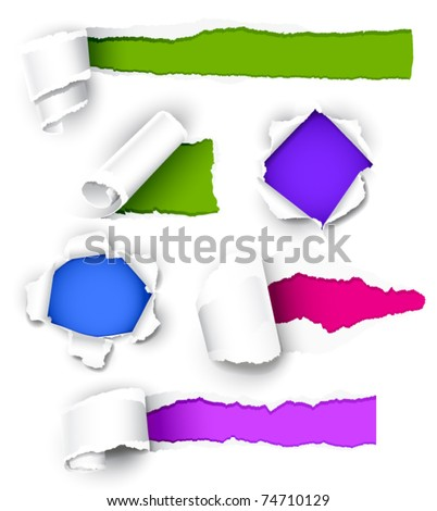 Collection of colored paper. Vector illustration - stock vector