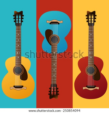 Collection of colored vector guitars. Vector image can be used for web design, prints or other crafts. - stock vector