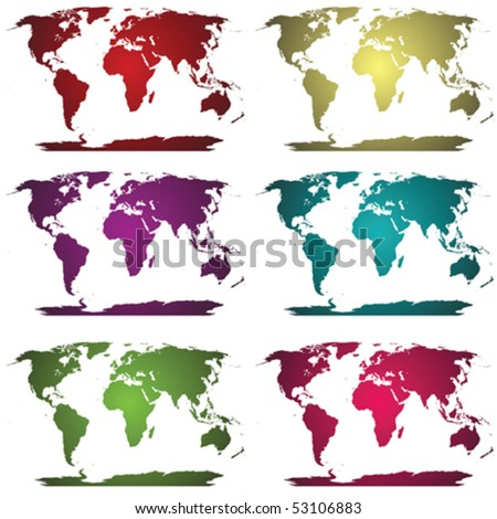 Collection of colored world maps