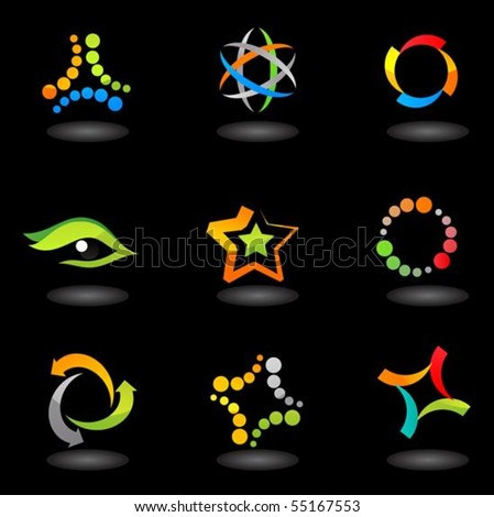 collection of colorful abstract icons on   black  background - stock vector