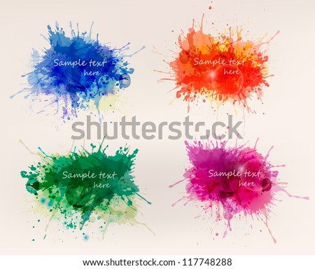 Collection of colorful abstract watercolor backgrounds. Vector - stock vector