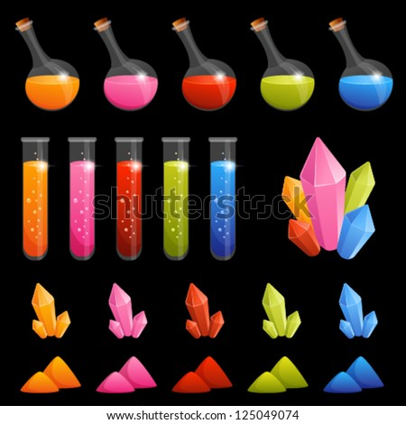 collection of colorful alchemy elements for kids - transparency of flasks and tubes with potion is suitable for dark background - stock vector