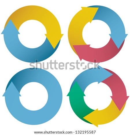 collection of colorful arrow circle flows. vector.