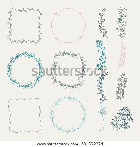 Collection of Colorful Artistic Hand Sketched Decorative Doodle Borders and Frames. Floral Design Elements. Hand Drawn Vector Illustration. Pattern Brashes - stock vector