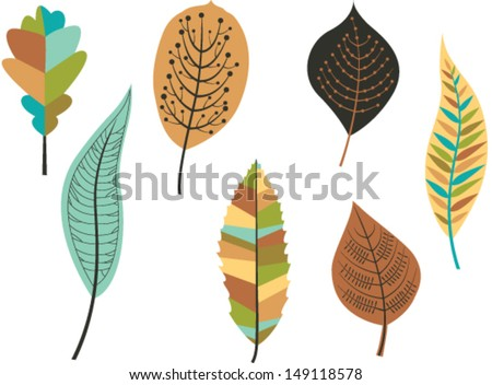 Collection of  colorful autumn leaves. Vector - stock vector