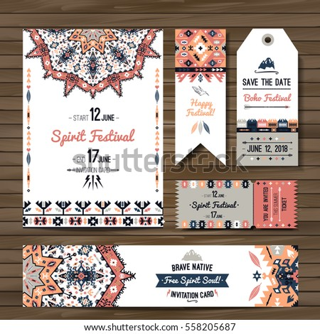 Collection of colorful banners, flyers or invitations with geometric elements. Flyer design in bohemian style