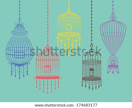 Collection of  Colorful Bird Cages in Vector