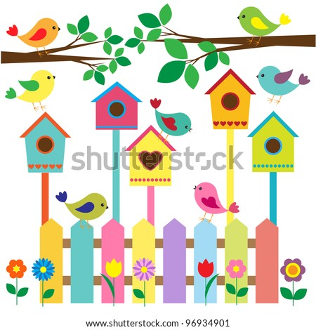 Collection of colorful birds and birdhouses - stock vector
