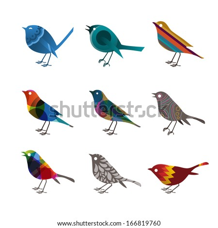 Collection of colorful birds, vector illustration - stock vector