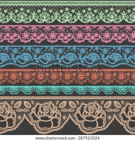 Collection of colorful borders stylized like laces - stock vector