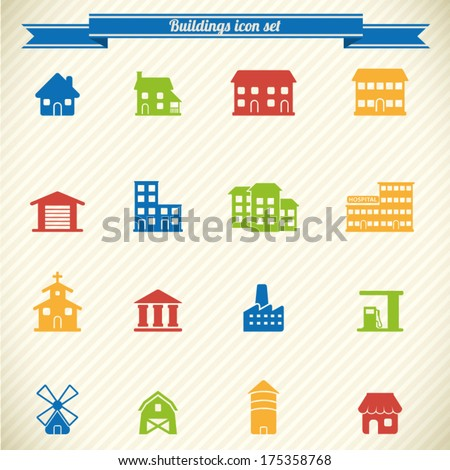 Collection of colorful buildings icons  - stock vector