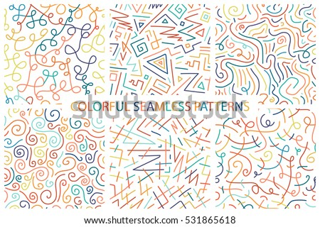Collection of colorful children hand drawn seamless patterns.