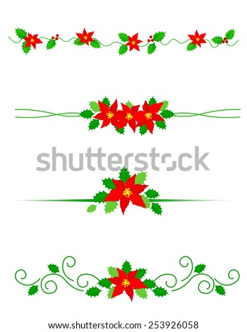 Collection of colorful Christmas dividers with red poinsettia flowers and holly leaves - stock vector