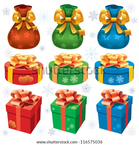 Collection of colorful christmas gifts on white background