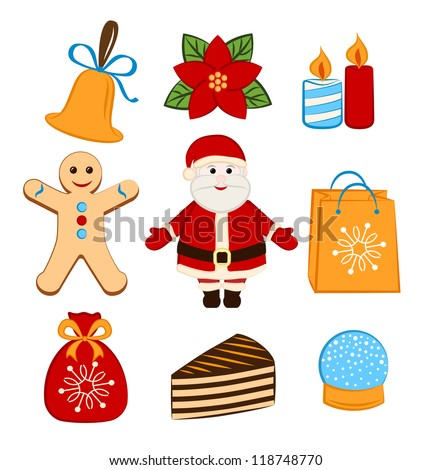 Collection of colorful Christmas icons/objects