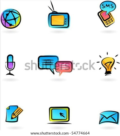 Collection of colorful  communication icons - stock vector
