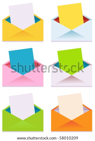Collection of Colorful Envelopes with Blank Paper - stock vector