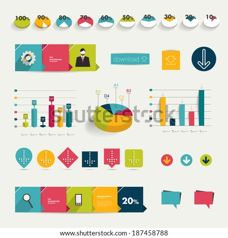 Collection of colorful flat infographic elements. Business vector shapes. - stock vector