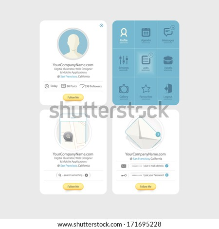 Collection of colorful flat kit UI navigation elements with icons for personal portfolio website templates - stock vector