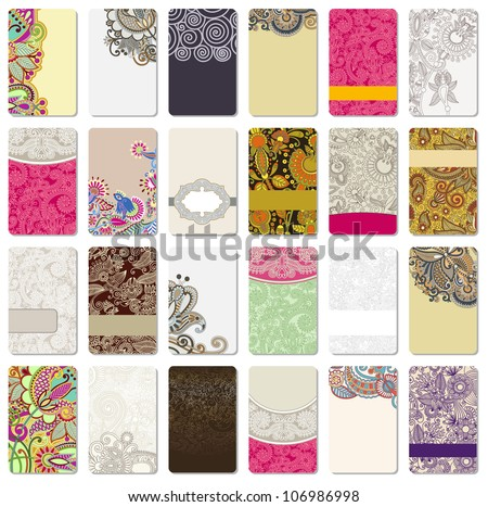 collection of colorful floral ornamental business card element - stock vector