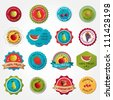 Collection of colorful fruit labels - stock vector