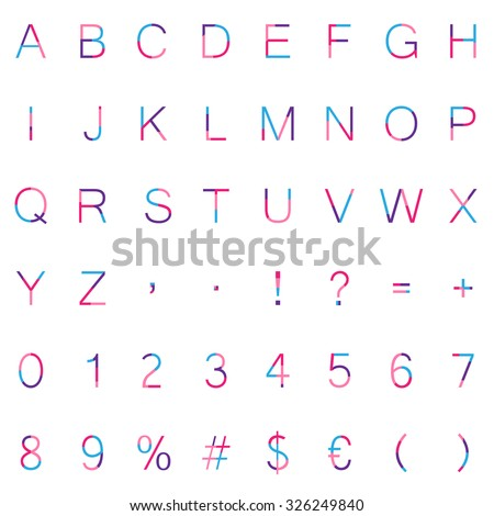 Collection Of Colorful Girly Characters Numbers And Symbols Isolated On White Background Minimal Style