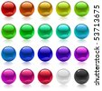 Collection of colorful glossy metallic spheres isolated on white. - stock photo