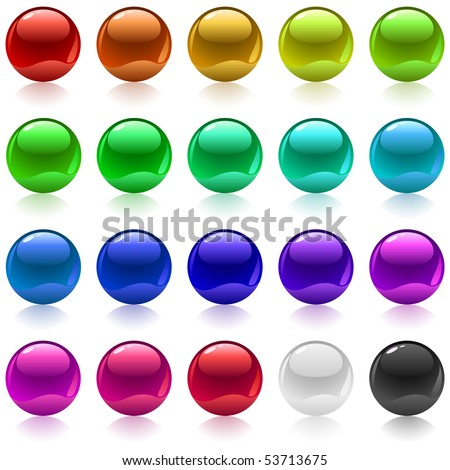 Collection of colorful glossy metallic spheres isolated on white.