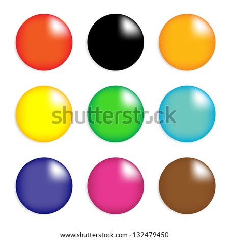 Collection of colorful glossy spheres isolated on white. vector design. eps10 - stock vector