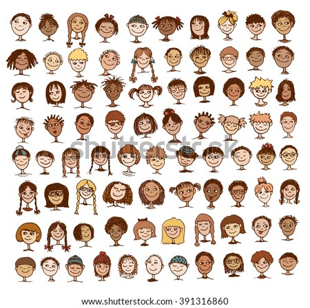 Collection of colorful hand drawn kids' faces - stock vector