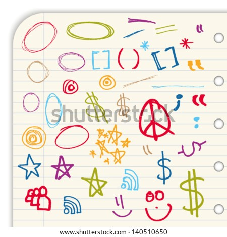 Collection of colorful hand-drawn signs and symbols isolated on light background - stock vector