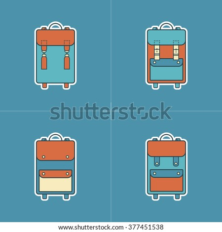 Collection of 4 colorful icons of backpack.Symbols of handmade vintage Bag.Leather goods.Skinner work.Stylish Logo.Linear,retro,hipster,flat style.Template.Old design.Vector illustration.Isolated  - stock vector