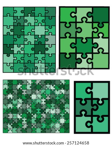 Collection of colorful jigsaw puzzle, vector illustration