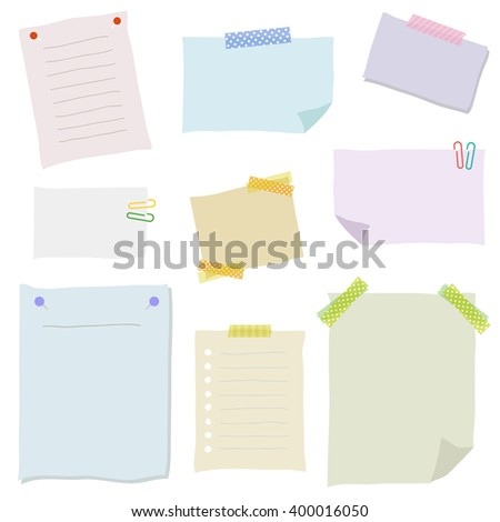 Collection Hand Drawn Note Papers Vector Vector 357793535 – Collection Note