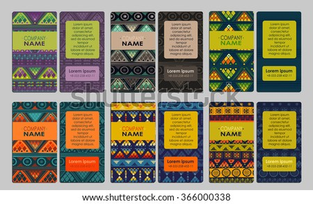 Collection of colorful ornamental business card. It can be used for business cards, invitations, flyers, banners, greeting cards. - stock vector