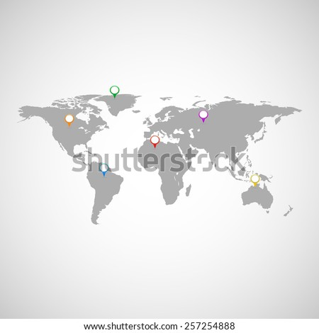 Collection of colorful pointers with world map - stock vector