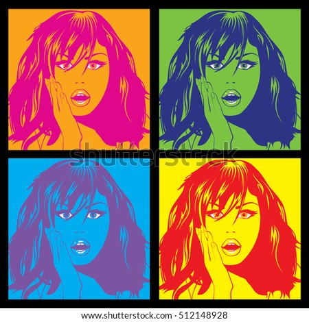 Collection of colorful Pop Art Woman pattern. Card vector illustration.