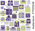Collection of colorful presents in violet and green isolated on white. Perfect for birthday/Christmas/Valentine's Day design. - stock vector