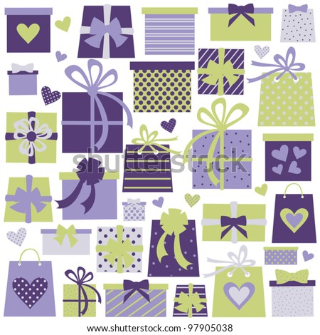 Collection of colorful presents in violet and green isolated on white. Perfect for birthday/Christmas/Valentine's Day design.