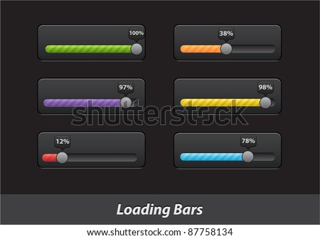 Collection of colorful progress loading bars