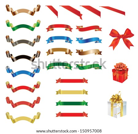 Collection of colorful ribbons, bows and gift boxes. Vector EPS 10 illustration. - stock vector