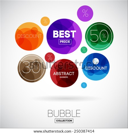 Collection of Colorful Sale Discount Styled Banners, Bubbles with Best Price and numbers and Percent for Business  - stock vector
