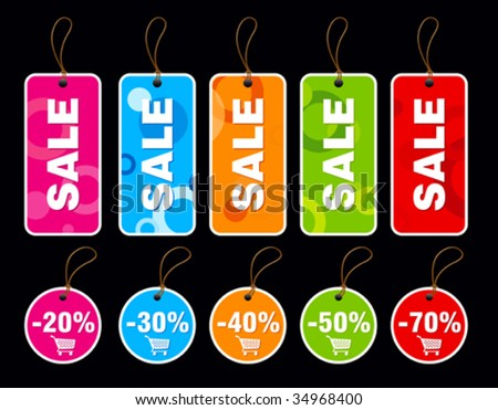 Collection of colorful sale tags