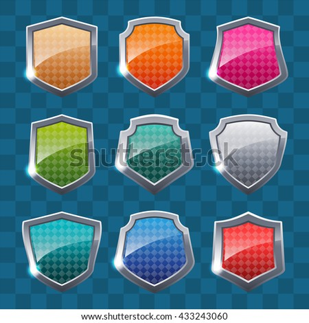 Collection of colorful shields on abstract background. Security symbol. Vector illustration. - stock vector