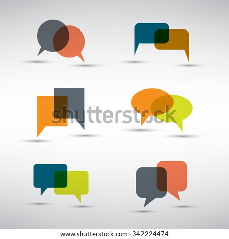 Collection of Colorful Speech And Thought Bubble Vector Designs - stock vector