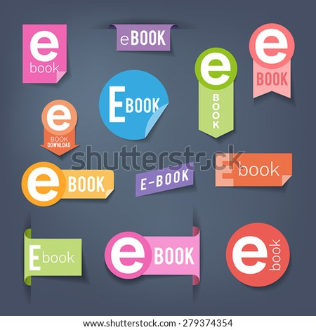 Collection of colorful stickers. Labels symbolizing e-book downloading. - stock vector