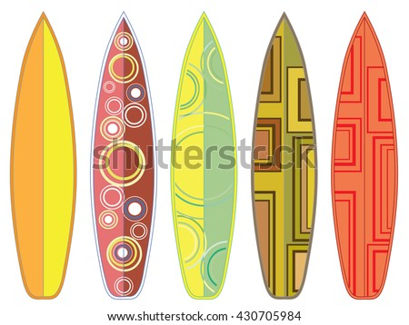 Collection of colorful surfboard designs on white background.