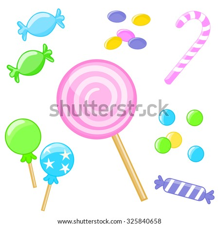 Collection of colorful sweets on white background.